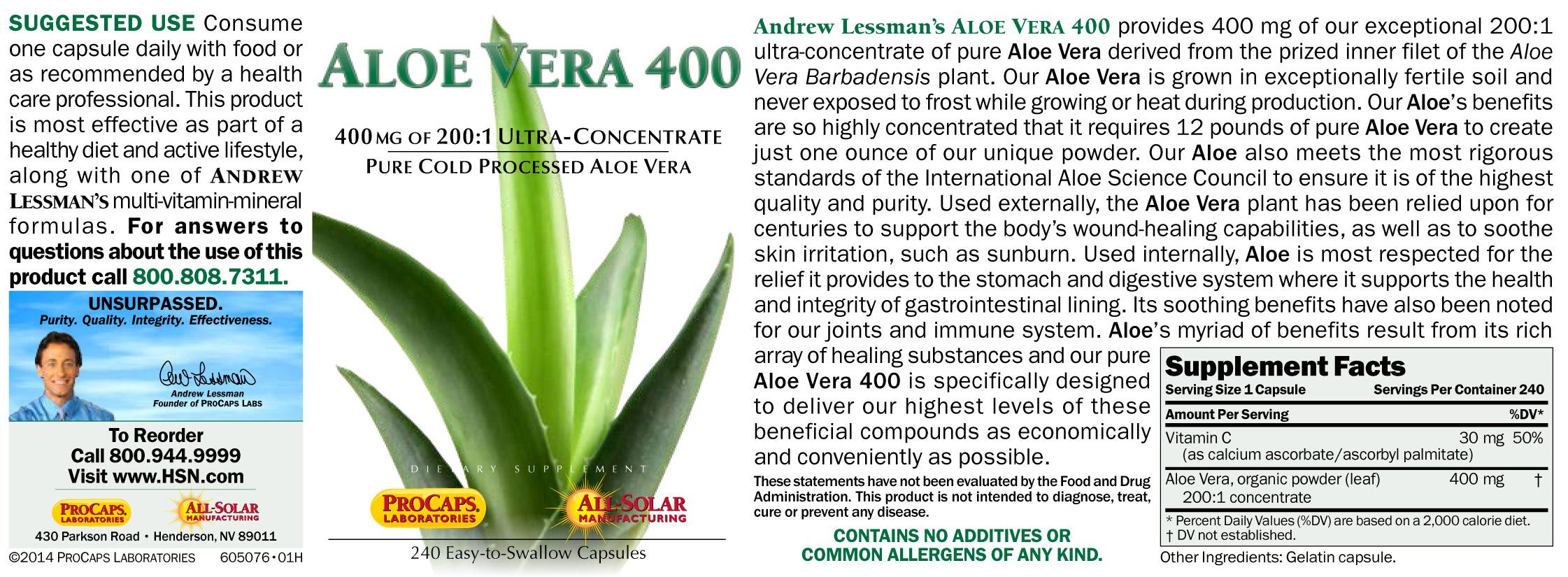 Aloe Vera 400 30 Capsules 7592504 Hsn