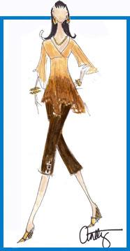 Caribbean Dream Tie Dye Kimono blouse and Antthony button detail cotton stretch twill Capri
